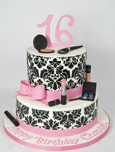 black and pink damask makeup birthday cake