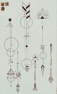 Geometric arrows.