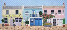 needlepoint house stitches, designer unknown