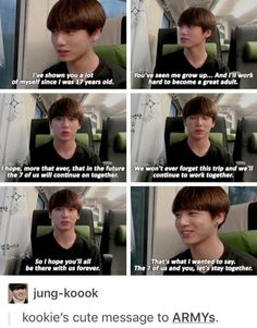 I always get so happy when I see/hear Kookie talking about how much he wants us (Army and BTS) to stay together for a longtime it's seriously just the cutest thing :-)