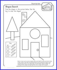 Basic Shapes Worksheets for Kids Kiddo Shelter Shape Worksheets For Preschool, 1st Grade Math Worksheets, Shapes Worksheets, Printable Worksheets, Free Printables, Shape Activities, Kids Worksheets, Preschool Learning, Kid Activities