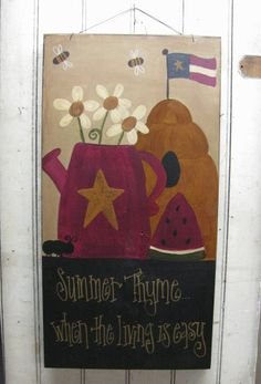 Summer Thyme Primitive Hand Painted Sign by GainersCreekCrafts, $32.99