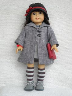 100% hand made outfit that fits American Girl Doll. -grey coat