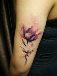 Chronic Ink Tattoo - Toronto Tattoo  Watercolour flower tattoo done by David.
