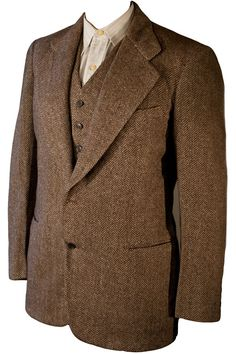 """Thirties wool tweed jacket with matching vest. ⅔rds of a suit, long separated from it's trousers. The suit model was """"The New Yorker"""" Herrin..."""