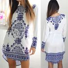 Summer Women Cotton Long Sleeve Party Dress Evening Cocktail Casual Mini Dress  #ad