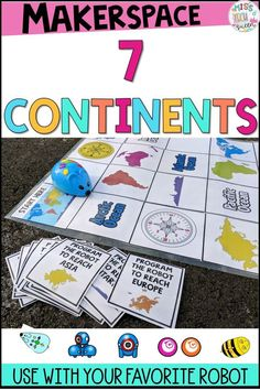 Incorporate geography and coding with this activity mat. This reviews the seven continents and oceans! Let the robot travel the world.   For Bee Bot, Sphero, Dash and Dot, Robot Mouse  Click here to view more!!!  #robotics #robotmat #beebot #sphero #robotmouse #dashanddot #coding #codingintheclassroom #elementarycodingactivities Continents Activities, Geography Activities, Social Studies Activities, Hands On Activities, Stem Activities, Dash And Dot Robots, Dash Robot, Kindergarten Stem, Continents And Oceans