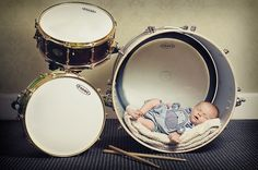 500px / Newborn Baby Boy Asleep In His Father's Drum Kit by Graham Short