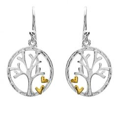 Sterling Silver Jewellery, Sterling Silver Tree Earrings with Gold Hearts