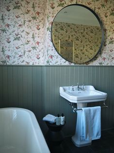 Treron Farrow & Ball on tongue and groove in a bathroom with Hummingbirds by Cole & Son Wallpaper. Downstairs Bathroom, Bathroom Sets, Small Bathroom, Master Bathroom, Bathroom Hacks, Bathroom Renovations, Farrow Ball, Oval Room Blue, Design Rustique