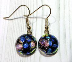 Pierced Earrings / Fused Glass(MJ-074)#glass #earrings #pink #blue #ピアス #fashion