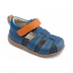 2015 Spring Ryan Sandals in Blue by #SeeKaiRun - This blue fisherman sandal sports a blaze of orange across its instep, with a matching back pull loop for easy entry. The blue rubberized leather and leather upper, mesh collar and adjustable leather strap allow for non-stop running, jumping, and playing. #3littlemonkeys