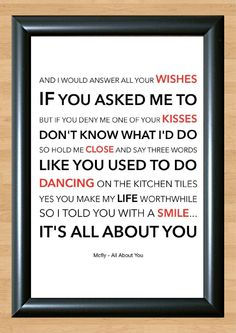Mcfly 'All About You' Lyrical Song Print Poster Art A4 Size (Typography)