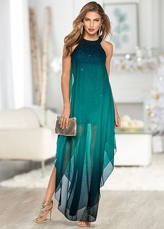 A cocktail dress with a twist! Venus ombre glitter long dress with Venus rhinestone medallion heel.