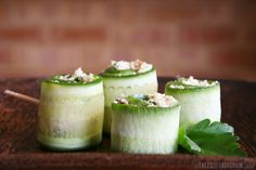 These refreshing cauliflower cous cous cucumber rolls make a great appetizer or snack if you're entertaining. Cucumber Roll Ups, Fruit Roll Ups, Great Appetizers, Appetizer Recipes, Savoury Dishes, Food Dishes, Raw Wraps, Cauliflower Couscous, Raw Vegan Recipes