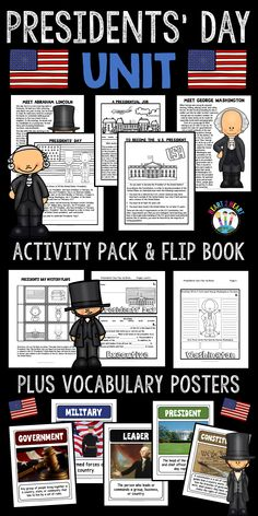 Learning about Presidents' Day has never been so much fun! With this creative activity pack students will love learning all about George Washington, Abraham Lincoln, and a presidential job in honor of all United States Presidents!  In this President's Day Activity Pack students will learn all about  *George Washington *Abraham Lincoln *History of Presidents' Day *Becoming a United States President *A Presidential Job