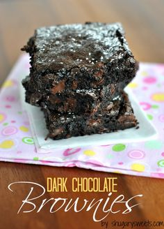 Dark Chocolate Brownies: delicious, one bowl, from scratch fudgy brownie recipe #brownies
