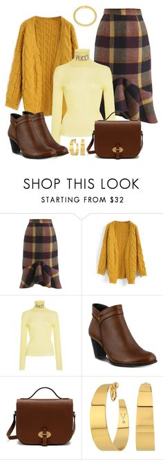 """Wool Skirt with Ankle Boots"" by dgia ❤ liked on Polyvore featuring Chicwish, Emilio Pucci, Spring Step, Mulberry, Vince Camuto and Eklexic"