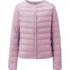 Finally!  Uniqlo's cardigan style lightweight down short jacket with round neck and snap front in spring colors...  They had put this up prematurely on their website 6 months ago, and pulled down.  uniqlo.com $59.99