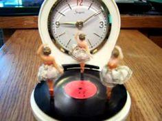 Music Box 3 Tiny Twirling Ballerinas on Record Player & Alarm Clock