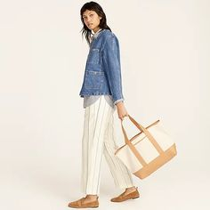 J.Crew: Medium Montauk Tote With Leather Trim For Women J Crew Looks, Soft Leather, Bag Accessories, Harem Pants, Medium, My Style, How To Wear, Cotton, Shopping