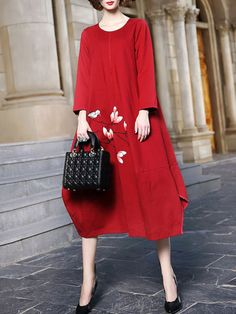 Hand-drawn Cotton-blend Midi Dress