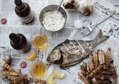 Fresh fish and chips :: BBQ-ed sea bream and russet potatoes
