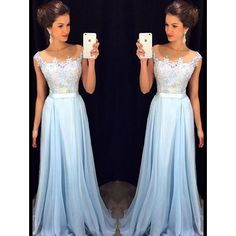 Pd10137 High Quality Prom Dress,chi.. ($165) ❤ liked on Polyvore featuring dresses, blue prom dresses, blue dress and prom dresses