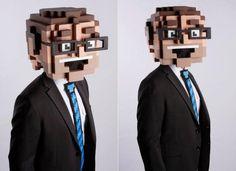 selbstgemachte kostüme mann 8-bit kopf pixels dan luzzi