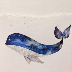 Watercolour galaxy style whale
