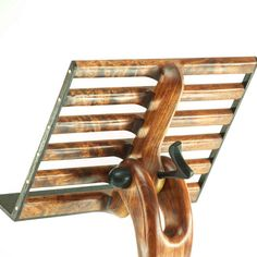 "canadianwoodworks: ""Sculpted music stand built from Bubinga with Wenge highlights, & a little brass "" Japanese Furniture, Music Stand, Book Stands, Good Music, Wood Projects, Woodworking Plans, Sculpting, Cool Stuff, Handmade"