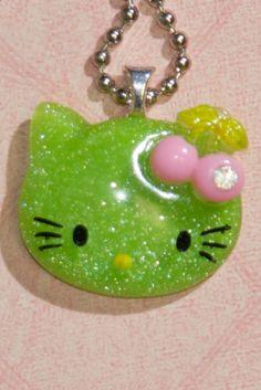 Glitter Hello Kitty Necklace (Green) $10.00
