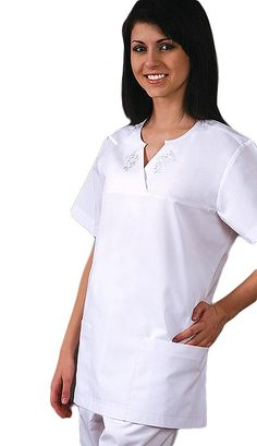 Style Code: (AD-612)  Very neat, very comfortable empire cut, with short sleeve top that features pretty embroidery along its unique bias trimmed, face-framing crossover semi-v neckline.