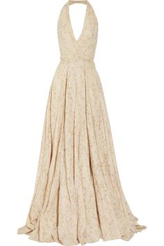 RALPH LAUREN COLLECTION Meyer embroidered floral-print cotton halterneck gown