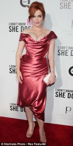Mad Men star Christina Hendricks is making top news today for her fashion choice of a red dress at the premiere of I Don't Know How She Does It. Beautiful Christina, Beautiful Redhead, Cristina Hendrix, Satin Dresses, Nice Dresses, Woman With Smallest Waist, Adrienne Bailon, Angela Simmons, Jolie Lingerie