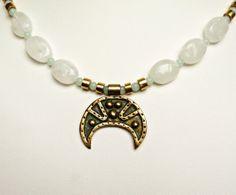 Moonlight Necklace, Bracelet and Earrings set, Rainbow Moonstone, Bronze Lunula, Brass, Amazonite, Sterling Silver.