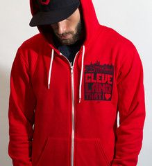 Limited Edition Red Cleveland Hoodie Front and Back - Zip Up    If you're from Cleveland, proud of Cleveland, lived in Cleveland or got your start in Cleveland, WEAR CLEVELAND PROUD!