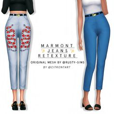 MARMONT JEANS RETEXTURE - ORIGINAL MESH BY @rusty-sims these jeans have been wips for sooo long, sorry for those waiting! i've just done a simple retexture/recolour by making a simlish gucci marmont...