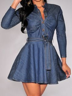 Sassy Girl Denim Dress - Come on..Denim is a must for the fall & winter season and this dress is so adorable and fashionable. Wear it how it is or pair it with tights and a heel.