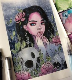 Pretty mythical girl Amazing Drawings, Colorful Drawings, Cute Drawings, Amazing Art, Arte Sketchbook, Naruto Girls, Dope Art, Copics, Pretty Art