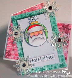 Father Christmas Bauble Stamped card coloured with @SpectrumNoir