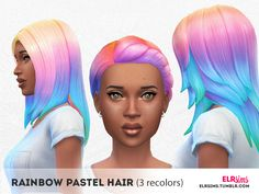 elrsims' [ELR SIMS] Rainbow Pastel Hair (3 non-default recolors) - B
