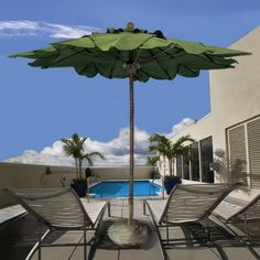 Do you ever miss palm trees? You can bring them to you by purchasing our Palm Umbrella! It comes in over 70 colors if green doesn't suit your backyard or pool.  http://www.umbrellasource.com/product/8-ft-palm-aluminum-umbrella