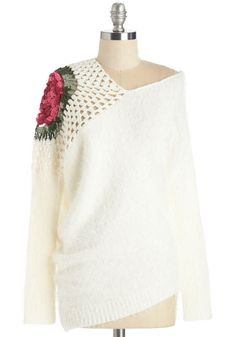 Never Too Elate Sweater. Theres always an occasion for which to flaunt this darling ivory sweater! #white #modcloth