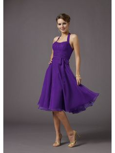 Short A-line Halter Purple Evening Dresses Bridesmaids Dresses Prom Formal Party Gowns 1105002