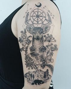 Deer holding the Wheel of Fortune tarot symbol between constellations Cancer and Taurus. Wrapped in the plant medicine of wild rose, osha, juniper berries, deer fern, and trillium. At the bottom is Mt. Rainier with mama bear and cubs. Thanks Tracy! Deer Skull Tattoos, Stag Tattoo, Elephant Tattoos, Animal Tattoos, Hand Tattoos, Cool Tattoos, Raven Tattoo, Mens Side Tattoos, Sleeve Tattoos For Women