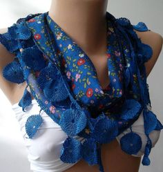 Blue  Elegance Shawl with Lacy Edge by womann on Etsy, $9.90