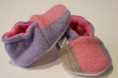 Sparkly Pastel Baby Booties Upcycled Wool