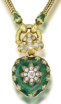 A gold, enamel and diamond necklace, circa 1840  The flexible snake-link chain suspending a heart-shaped locket decorated with green enamel and an applied old brilliant and rose-cut diamond star motif, with foliate and acanthus leaf engraving to reverse, and an old brilliant-cut diamond trefoil surmount, mounted in yellow gold, diamonds approximately 1.80 carats total, fitted case