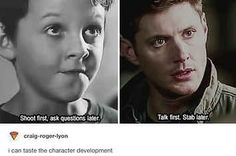 Funny Supernatural Posts That Remind You It's The Best Show Ever (Episode Supernatural Bloopers, Supernatural Tumblr, Supernatural Tattoo, Supernatural Imagines, Supernatural Wallpaper, Supernatural Destiel, Supernatural Funny Moments, Comic, My Guy